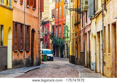 Old scenic street in Parma Emilia-Romagna Italy.