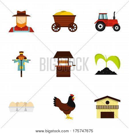 Farmer icons set. Flat illustration of 9 farmer vector icons for web