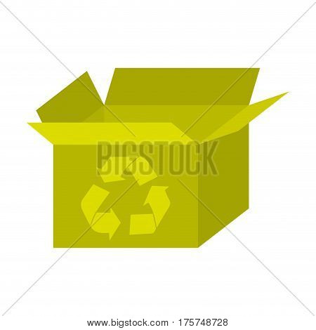 yellow box open with recycle symbol icon, vector illustraction design