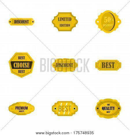 Golden sale badge icons set. Flat illustration of 9 golden sale badge vector icons for web