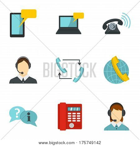 Call center service icons set. Flat illustration of 9 call center service vector icons for web