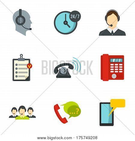 Phone and call center icons set. Flat illustration of 9 phone and call center vector icons for web