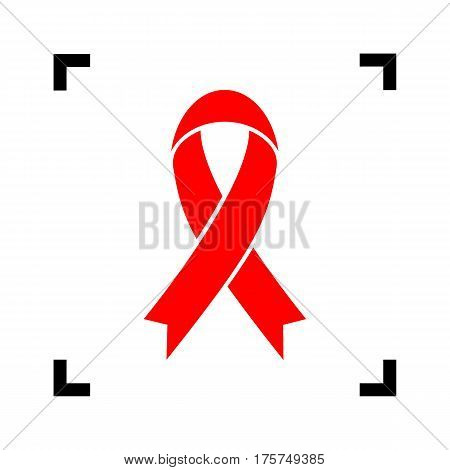 Black awareness ribbon sign. Vector. Red icon inside black focus corners on white background. Isolated.
