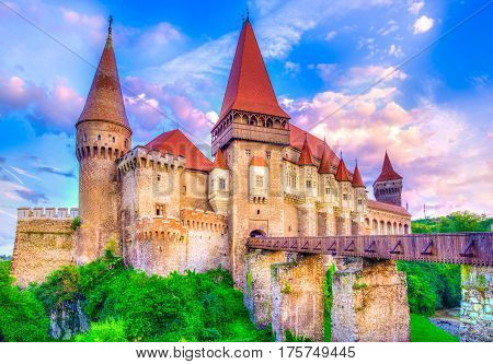 Beautiful Hunyad Corvin medieval castle in the sunset light Hunedoara townTransylvania landamark RomaniaEurope