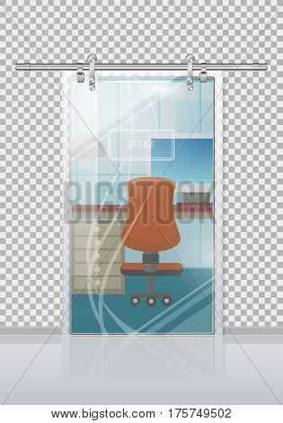 Office workplace through sliding glass door view flat vector. Entrance to the cabinet with table, computer and chair. Modern office interior with transparent wall illustration for business concepts