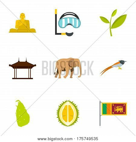 Sri Lanka icons set. Flat illustration of 9 Sri Lanka vector icons for web