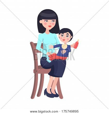 Young brunette mother sits on chair and feeds her baby boy with a bottle on her lap on the white background. Illustration of motherhood. Cartoon family moment. Vector illustration for Mother day.