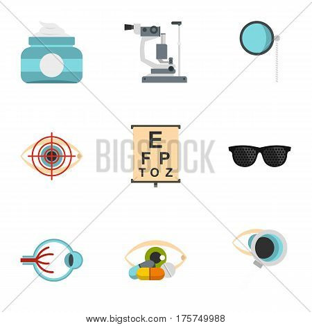 Optical icons set. Flat illustration of 9 optical vector icons for web