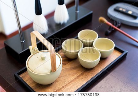 elegance chinese traditional calligraphy tools on table