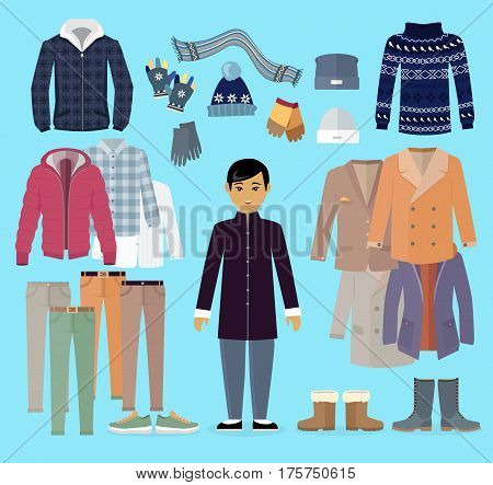 Boy in warm clothes stands in centre with clothing kinds around on light blue background. Vector poster of jacket and coats types, dark sweater, grey hat and gloves, colourful trousers and boots