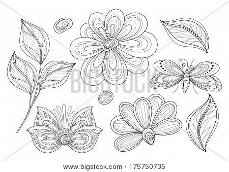 Vector Set Of Beautiful Monochrome Floral Design Elements With Insects