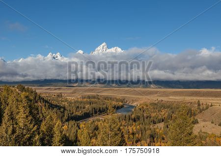 the scenic Teton Range from the snake river overlook Grand Teton National park in fall