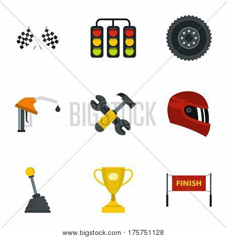 Car race icons set. Flat illustration of 9 car race vector icons for web