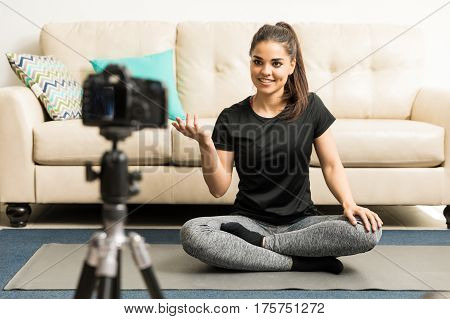 Yoga Instructor Recording A Video