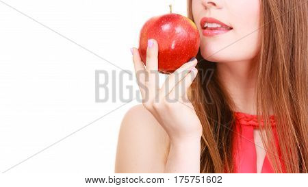 Woman Charming Girl Holds Apple Fruit