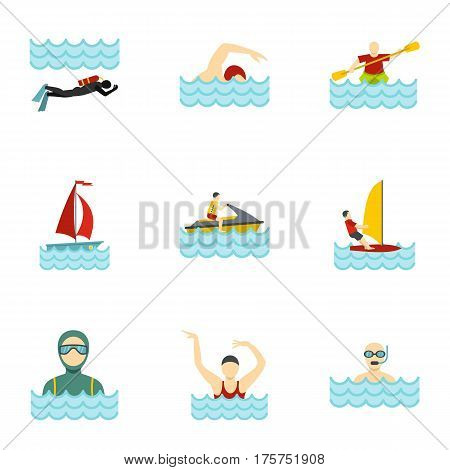 Boating and swimming icons set. Flat illustration of 9 boating and swimming vector icons for web