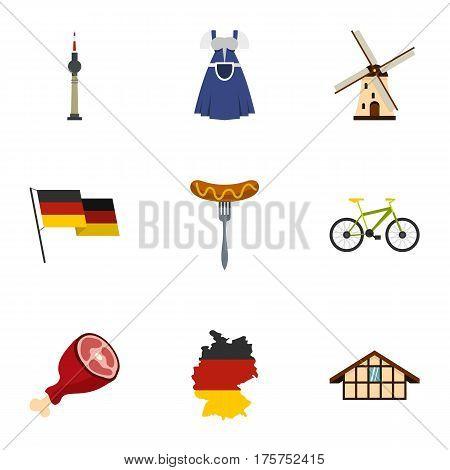 Germany elements icons set. Flat illustration of 9 Germany elements vector icons for web