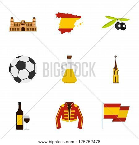 Culture features of Spain icons set. Flat illustration of 9 culture features of Spain vector icons for web