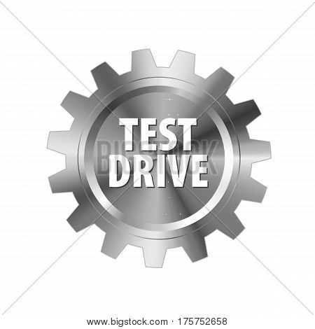 Gray Metal Gear With Words 'test Drive' On White Background