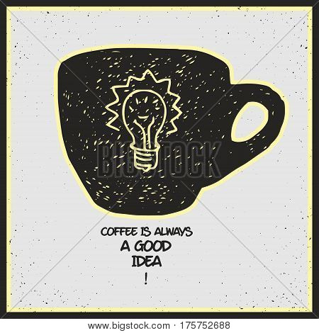 fresh hot coffee is always a good idea - stylized vector illustration