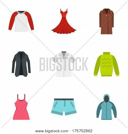 Fashion collection of woman wardrobe icons set. Flat illustration of 9 fashion collection of woman wardrobe vector icons for web