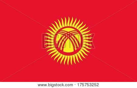 Official vector flag of Kyrgyzstan . ( Kyrgyz Republic )