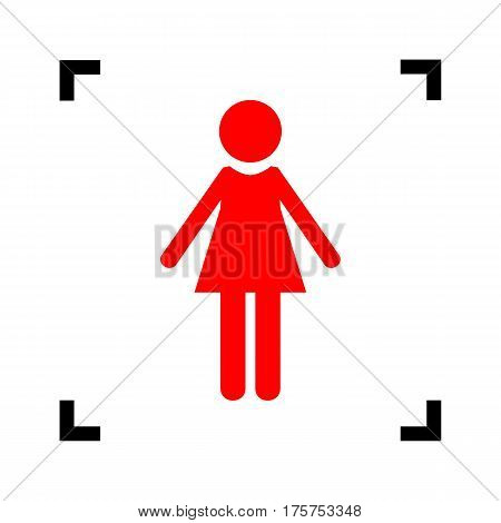 Woman sign illustration. Vector. Red icon inside black focus corners on white background. Isolated.