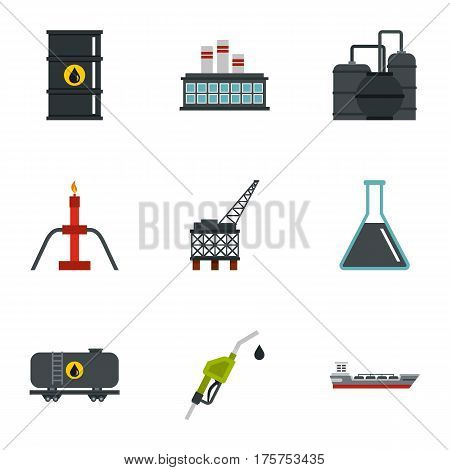 Oil and petroleum icons set. Flat illustration of 9 oil and petroleum vector icons for web