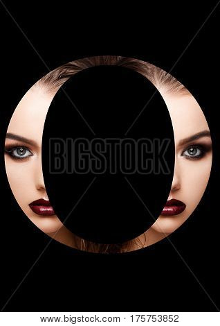 O letter beauty makeup girl creative fashion white font on black