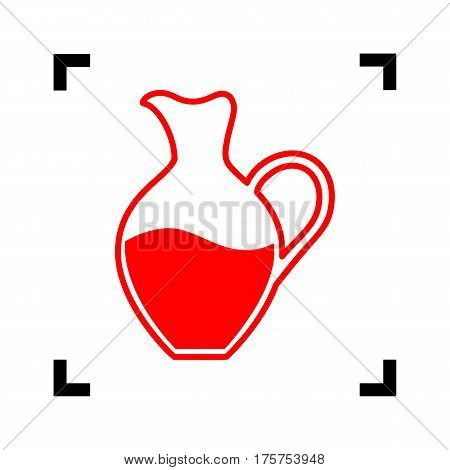Amphora sign. Vector. Red icon inside black focus corners on white background. Isolated.