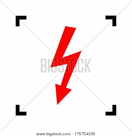 High voltage danger sign. Vector. Red icon inside black focus corners on white background. Isolated.