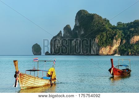 Longtail Boats Anchored At Ao Loh Dalum Beach On Phi Phi Don Island, Krabi Province, Thailand