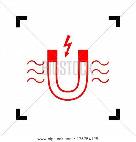 Magnet with magnetic force indication. Vector. Red icon inside black focus corners on white background. Isolated.