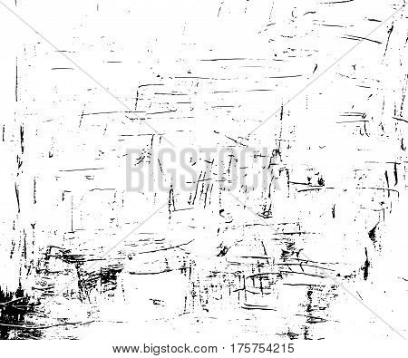 Obsolete vector texture in monochrome palette. Paint strokes on canvas. Black dirt on white background. Distressed marks or scratches for vintage effect on paper. Old paper overlay for retro design