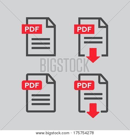 PDF file download icon. Document text symbol web. PDF file vector