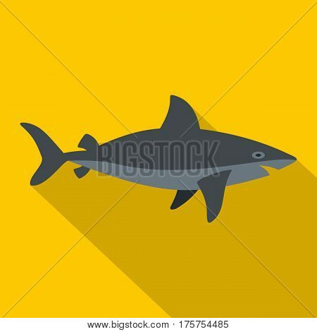 Grey shark fish icon. Flat illustration of grey shark fish vector icon for web isolated on yellow background