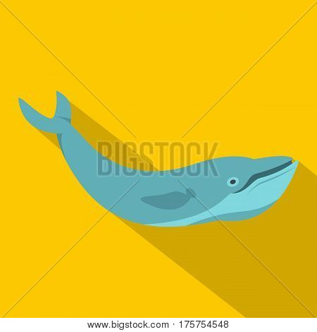 Blue whale icon. Flat illustration of blue whale vector icon for web isolated on yellow background