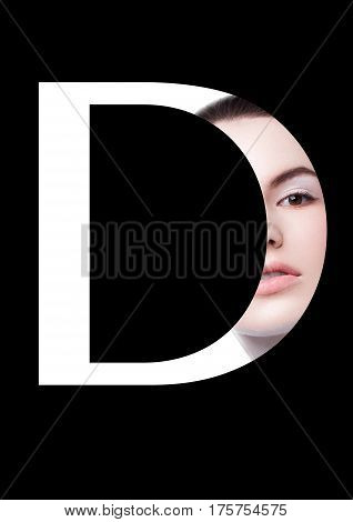 D letter beauty makeup girl creative fashion white font on black