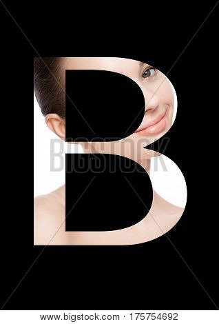 B letter beauty makeup girl creative fashion white font on black