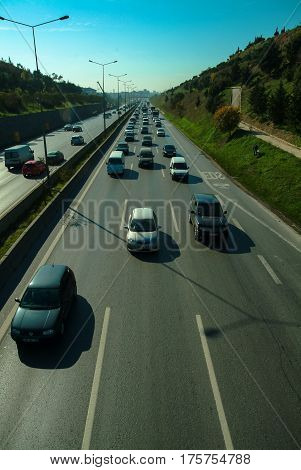 Istanbul, Turkey - November 10, 2009: Traffic Jam On The Highway