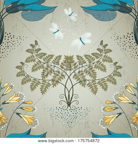 Seamless Vector Background. Floral Pattern In Modern Style. Fern, Hosta And Lacewing On Vintage Plas
