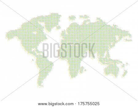 Isolated green color worldmap of dots on white background, earth vector illustration.