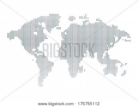 Isolated black and white color worldmap of dots background, earth vector illustration.