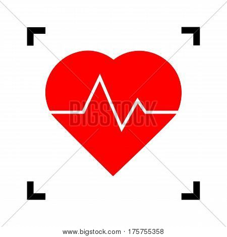 Heartbeat sign illustration. Vector. Red icon inside black focus corners on white background. Isolated.