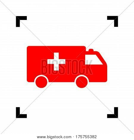 Ambulance sign illustration. Vector. Red icon inside black focus corners on white background. Isolated.