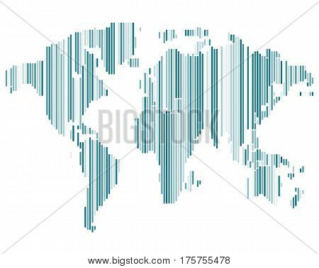 Isolated blue color worldmap of lines on white background, earth vector illustration.
