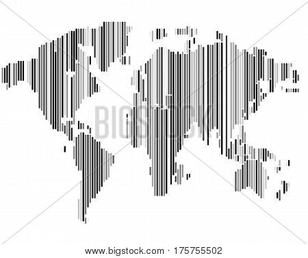 Isolated striped black and white color worldmap background, earth vector illustration.