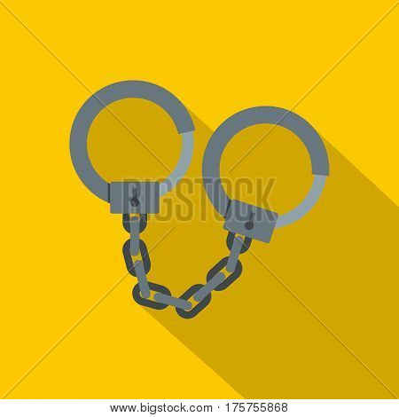 Steel handcuffs icon. Flat illustration of steel handcuffs vector icon for web isolated on yellow background