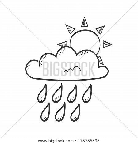 Sun in cloud with rain hand drawn weather icon - vector illustration
