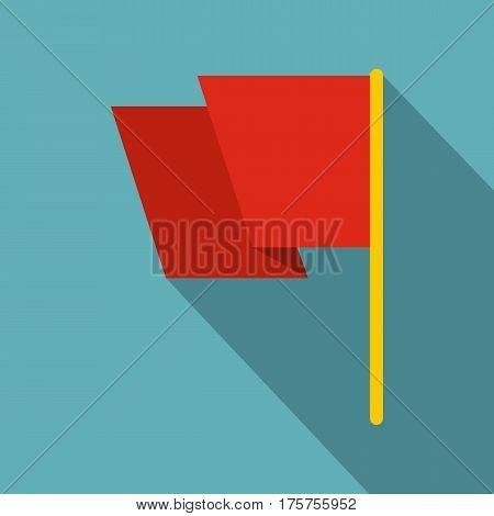 Red flag icon. Flat illustration of red flag vector icon for web isolated on baby blue background